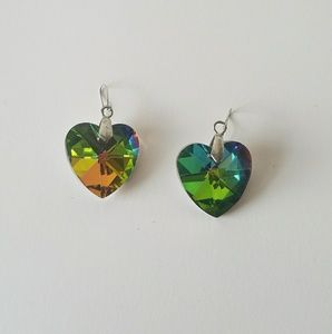 Fun Rainbow Watermelon Rivoli Heart Love Earrings